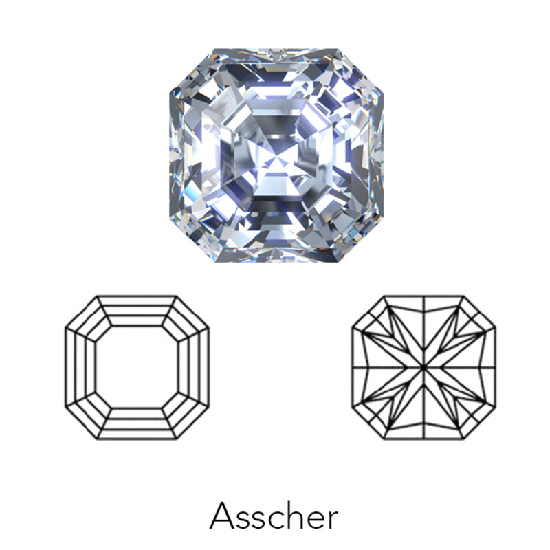 asscher cut display of LONITÉ cremation diamonds from ashes and cremated remains